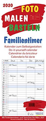 Foto-Malen-Basteln Familientimer 2020: Familienplaner mit 4 Spalten als Foto-kalender zum Selbstgestalten. Familienkalender mit Ferienterminen und festem Batelpapier.