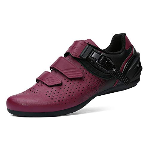 Santic Womens Cycling Shoes Road Bike Shoes Indoor Cycling Shoes Road Cycling Shoes with Buckle Wine Red