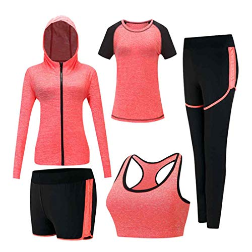 Inlefen Damen Trainingsanzug-Sets Sportanzug-Set weich und bequem Schnelltrocknend Jogging-Trainings-Trainingsanzug Damen Sportbekleidung-Sets Yoga-Bekleidung 5-teiliges Set Orange 2XL