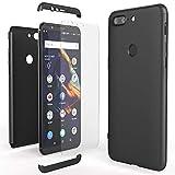 NALIA Funda Integral Compatible con OnePlus 5T, Carcasa Completa con Cristal Templado, Ultra-Fina Movil Cubierta Dura Bumper Delantera y Trasera Hard-Case Smart-Phone Cover, Color:Negro