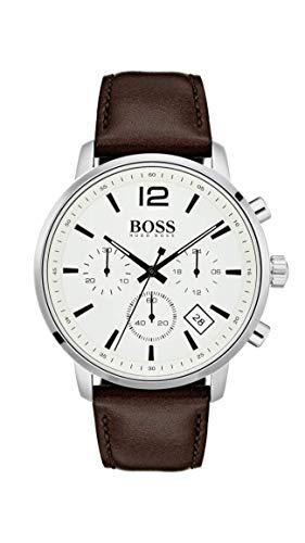 Hugo Boss Herren Chronograph Quarz Uhr mit Leder Armband 1513609