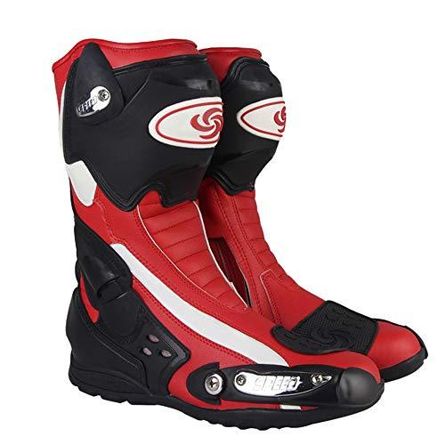 MRDEAR Botas de Motociclismo Cuero Impermeables Hombre Botas de Motocross Zapatos Moto Botas Deportivas Protectoras, Rojo Negro (40 EU)