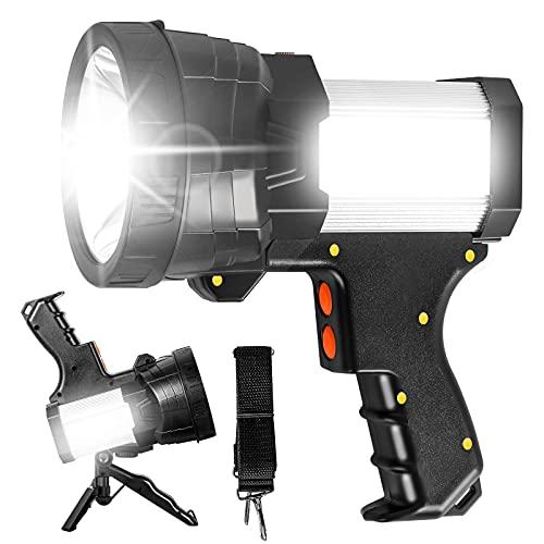 Samyoung Rechargeable Spotlight, LED Spotlight Flashlight Super Bright 6000 Lumen Handheld Spotlight 9600mAh Waterproof Flashlight and Flood Camping Flashlight Come with Tripod and Strip