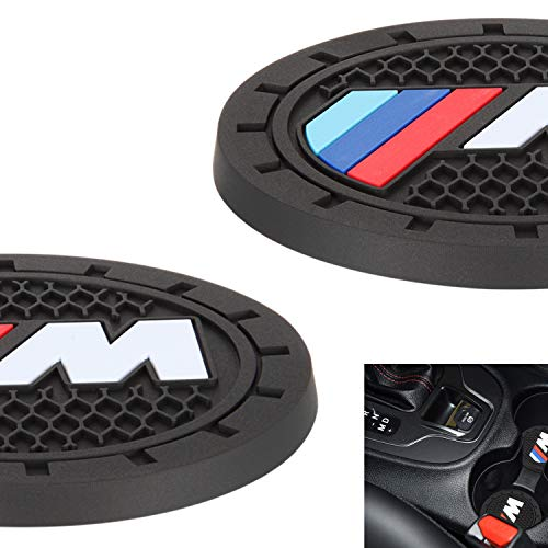 "AOOOOP Car Interior Accessories for BMW Sport M Cup Holder Insert Coaster - Silicone Anti Slip Cup Mat for BMW 1 3 5 7 Series F30 F35 320li 316i X1 X3 X4 X5 X6 (Set of 2, 2.75"" Diameter)"