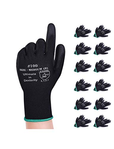 Donfri 12 Paar Arbeitshandschuhe Gartenhandschuhe Schutzhandschuhe Werkstatt Handschuhe Mit PU beschichtet fr Garten und Arbeitshandschuhe multifunktional (8/M)
