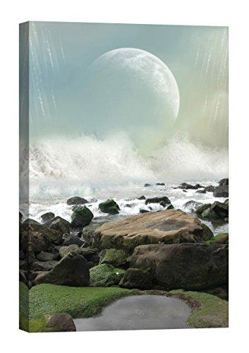 Décoration murale Startoshop, brillent dans le noir, toile murale, L'eau et des pierres de lune peinture murale, De la nature, 40 cm x 60 cm