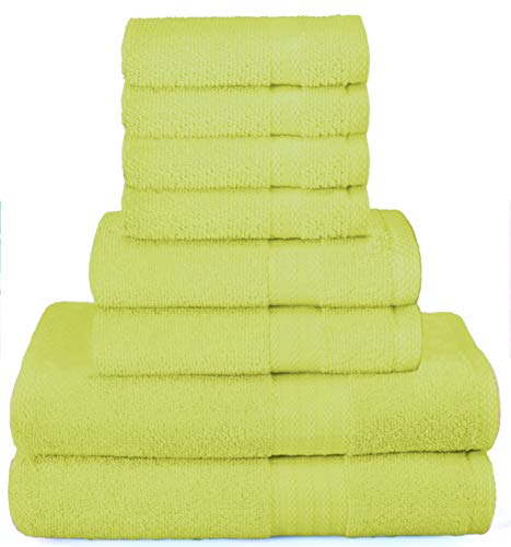 GLAMBURG Ultra Soft 8-Piece Towel Set - 100% Pure Ringspun Cotton, Contains 2 Oversized Bath Towels 27x54, 2 Hand Towels 16x28, 4 Wash Cloths 13x13 - Ideal for Everyday use, Hotel & Spa - Lime Green