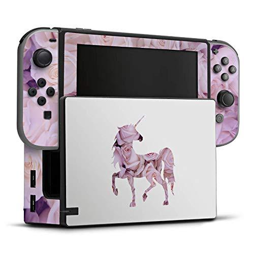 DeinDesign Skin Aufkleber Sticker Folie für Nintendo Switch Einhorn Unicorn Rosen Geschenk