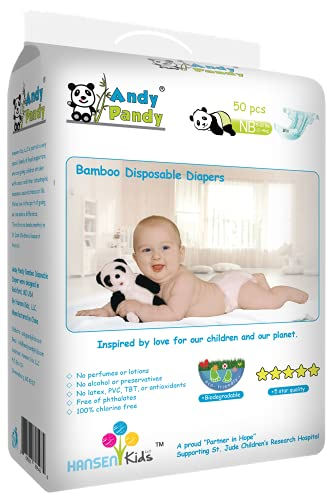 Andy Pandy Biodegradable Bamboo Disposable Diapers, Newborn, 50...