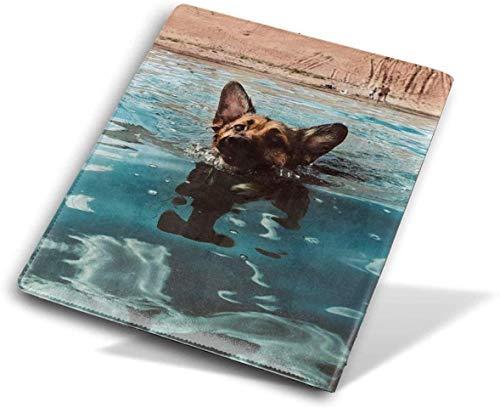 Entzückende Hund Schwimmen PU Leder Buchumschläge für Schulbücher Hardcover, Lehrbücher waschbar und wiederverwendbar passt Standard 9 X 11 Zoll, 4
