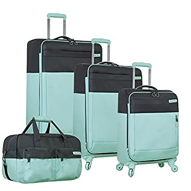 Nautica Harpswell 4 Piece Luggage Set, Navy/Aqua