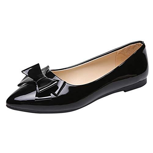 Frauen Bowknot Bootsschuhe Mode Spitzen Zehen Einfarbige Pumps Casual Spring Office Wohnungen Flachmund Slip On Loafers