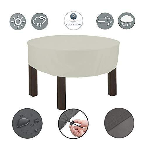 Planesium Premium dekzeil tuintafel ROND afdekhoes ronde tafel afdekking beschermhoes garnituur tuinmeubelset scheurvast ademend waterdicht (Ø 150cm x 15cm, wit)
