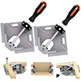 TAIWAIN Right Angle Clamp 90 Degree Positioning Holder 2PCS, Woodworking Vice Miter Tool Set Adjustable Wood Corner Clamps for Picture Photo Frame,Boxes,Door,Cabinet,Drawer Carpenter (Grey)