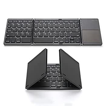 Foldable Bluetooth Keyboard Jelly Comb Pocket Size Portable Mini BT Wireless Keyboard with Touchpad for Android Windows PC Tablet with Rechargable Li-ion Battery