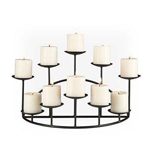 SEI Furniture 10 Candle Wrought Iron Candelabra, Matte Black