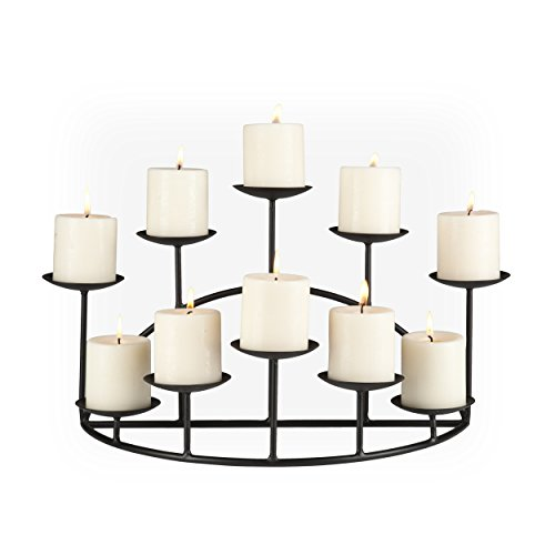 SEI Furniture 10 Candle Wrought Iron Candelabra, Matte Black