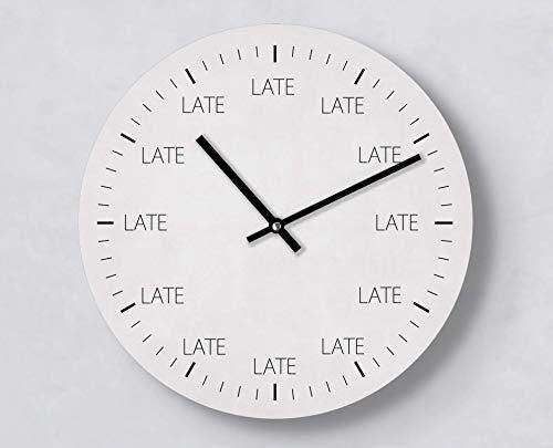 Moderne Wanduhr   Late   30 cm   Fun Clock   Leise   Handmade   Uhr mit Idee   Zeiger   Zu spät   Business   Deadline   Konzeptuhr