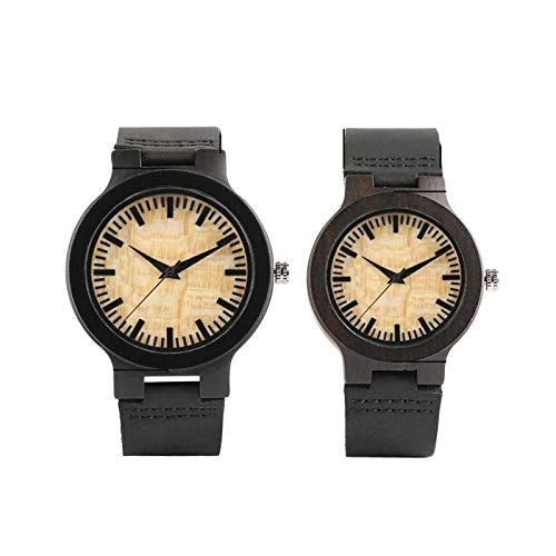 Relojes de Madera de ébano para Pareja, Reloj de Pulsera de Cuarzo de Cuero de Madera con Esfera Redonda, Pantalla Beige y Amarillo, Relojes de Pareja