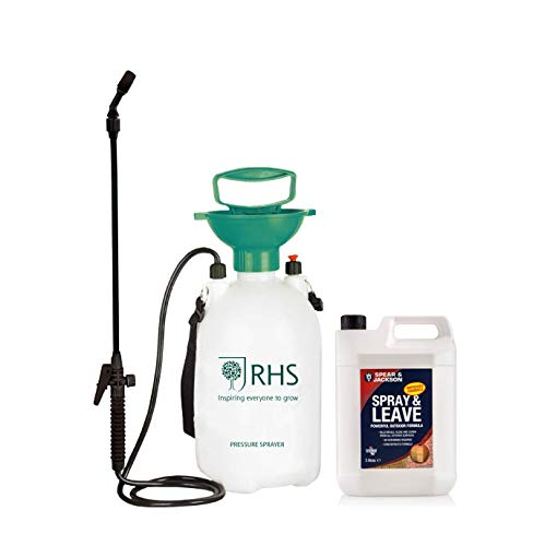 Spear & Jackson Spray and Leave 5L with added RHS 5L Pressure Sprayer Concentrated Formula Treats up to 200 sqm