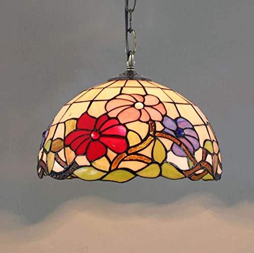 CHHD Lámpara de luz Lámpara Colgante, American Garden Vitral Morning Glory Design Lámpara Colgante, Sala de Estar Minimalista Creativa Dormitorio Restaurante Red Festive Art Chandelier