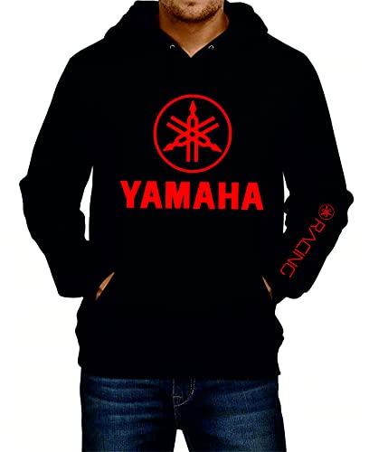 Yamaha - Sudadera deportiva con capucha para hombre, color negro y rojo