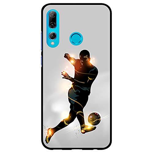 BJJ SHOP Funda Negra para [ Huawei P Smart Plus 2019 ], Carcasa de Silicona Flexible TPU, diseño: Futbolista chutando la Pelota, luz de energia