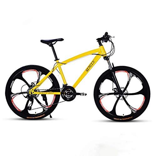 AISHFP Adultos de 24 Pulgadas de Bicicletas de montaña, Motos de Nieve Playa de Bicicletas, Bicicletas de Doble Freno de Disco, de aleación de Aluminio Ruedas,Amarillo,27 Speed