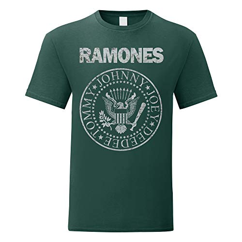 LaMAGLIERIA Camiseta Hombre Ramones - Grunge Print - T-Shirt Punk Rock Band 100% algodòn, L, Verde