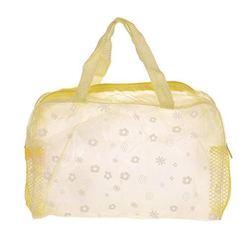 Impermeabile, motivo floreale, per make-up con contenitore per l'igiene personale, per la spiaggia, Kit da viaggio, 29 g, 4 colori giallo