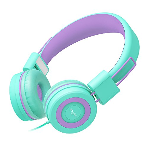 Elecder i37 Kids Headphones Children Girls Boys Teens Foldable Adjustable On Ear Headphones 3.5mm Jack Compatible Cellphones Computer MP3/4 Kindle School Tablet Green/Purple