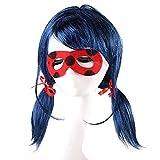 Lwiuentx Anime Cosplay Peluca Azul con Double Cola de Caballo Fiesta de Disfraces Para Niños Fiesta de Halloween + free wig cap