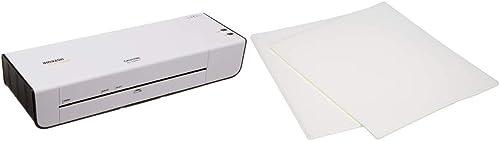 AmazonBasics Thermal Laminator Machine & Thermal Laminating Plastic Laminator Sheets - 8.9 Inch x 11.4 Inch, 50-Pack
