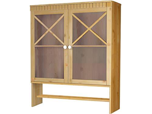 Loft 24 A/S Buffetaufsatz Aufsatz mit 2 Türen Vitrine Vitrinenschrank Glasvitrine Wohnzimmer Schrank viel Stauraum (gebeizt geölt)