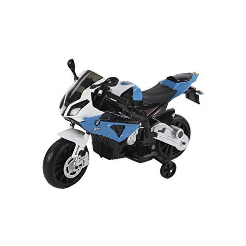 Moto Eléctrica para Niños Color Azul Licencia BMW Batería 12V Ruedas Silenciosas Edad +3 110x47x69cm