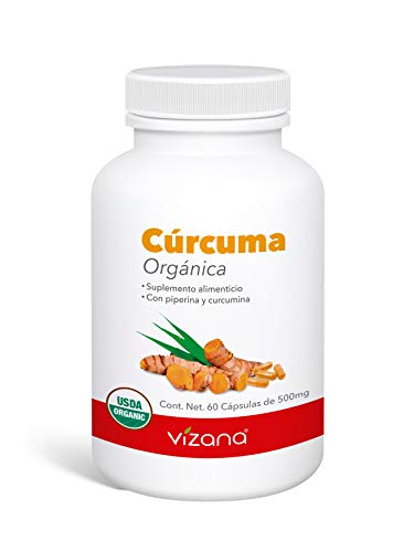 Cúrcuma orgánica certificada en capsulas veganas, adicionada con Curcumina y piperina 60 caps - 500mg Vizana Nutrition