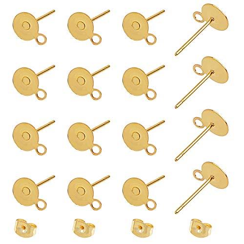UNICRAFTALE 100 Stück 6 mm flache runde Ohrstecker aus 304 Edelstahl, flache runde Ohrstecker mit Schlaufe und Ohrmuttern für DIY Ohrringherstellung