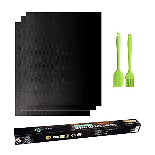 Juego de 3 láminas para horno con espátulas y cepillos, gran antiadherente, resistentes protectores de horno – Reutilizable, fácil de limpiar