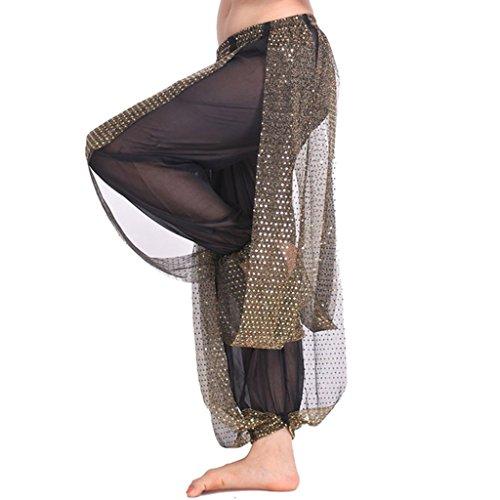 MUNAFIE Belly Dance Harem Pants Arabic Halloween Lantern Shiny Pants Fancy Pants US0-14 Black