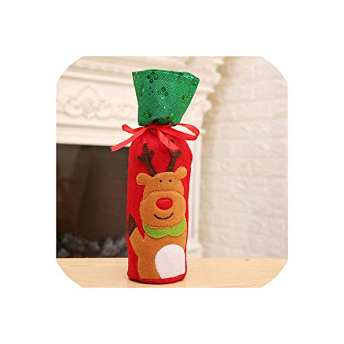 Sweet-Cupid Christmas Decorations for Home Santa Claus Wine Bottle Cover Snowman Stocking Gift Holders Xmas Navidad Decor New Year,Cute Deer