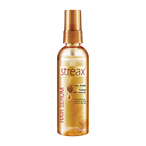 Streax Hair Serum for Women & Men / Contains Walnut Oil / Instant Shine & Smoothness / Regular use Hair Serum for Dry & Wet Hair / Gives frizz – free Hair / Soft & Silky Touch / 100ml