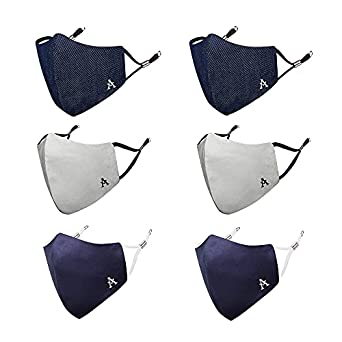 MASQ By Q-One Alphabet 4 Layer, Reusable, with Ear Adjusters, Anti-Bacterial (BFE>99%), Cotton Cloth Face Mask Combo for Unisex, Men, Women with Ear Adjusters(Large, Navy-Grey-Denim)