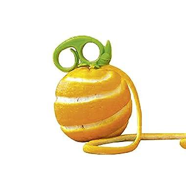 Peleg Design ZESTY by Green Chameleon-Shaped 2-in-1 Citrus Zester and Peeler for Decorating Cocktails, Cooking and Peeling Fruit