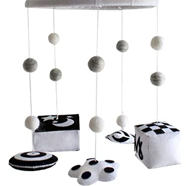 Reversible Baby Mobile - Pretty Brain Development Infant Stim Mobile Gives Visual Stimulation to Engage Your Newborn - Mobile is Handmade of Black and White Felt - Nursery Decor for Boy or Girl