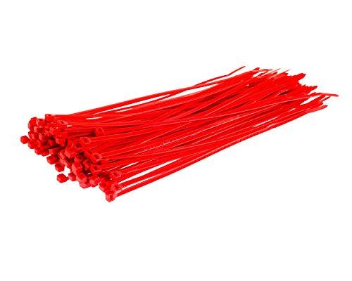 1000 Stück Einmal-Bänder - 200 mm x 4,8 mm - hohe Qualität Starkes Nylon Kabelbinder von Gocableties, rot
