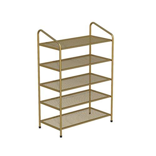 SENWEI Zapatero de metal de 5 niveles de gran capacidad para almacenamiento de zapatos con estantes de malla para 20 ~ 25 pares de estantes para zapatos (color dorado)