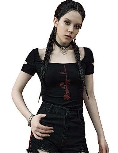 Punk Rave Kreative Bramble Rose Bedruckte Damen Kurzarm T-Shirt mit U-Ausschnitt Casual Stretchy Tops M-L