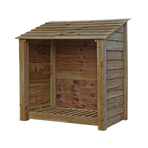 Rutland County Garden Furniture Greetham 4 ft Tall Log Store/Garden Storage Heavy Duty Pressure Treated Timber Forward Sloping Roof (Solid Log Store Only, Rustic Brown)