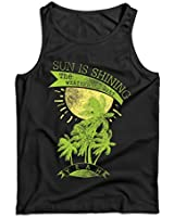 lepni.me Men's Tank Top Sun is Shining, The Weather is Sweet - Summer Vacation Outfits, Beach Resort Wear (Large Black Multi Color)