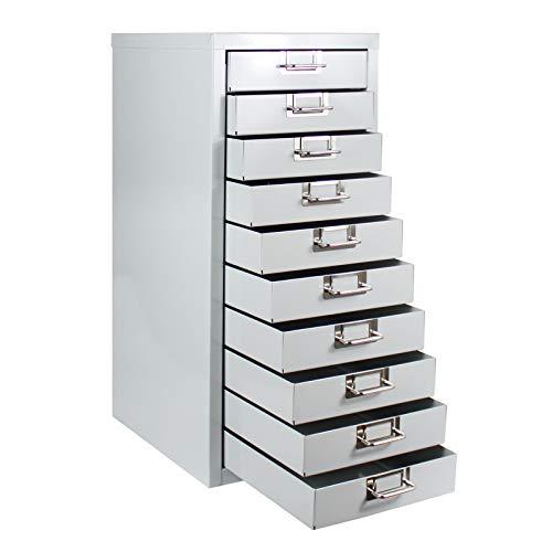 ADB Schubladenschrank Werkzeugschrank Schubladenbox mit 10 Schubladen RAL 7035 aus Metall, für die...